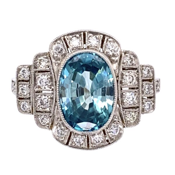Closeup photo of Platinum Art Deco 3.95ct Oval Blue Zircon & .50tcw OEC Diamond Ring 6.8g, s7.25
