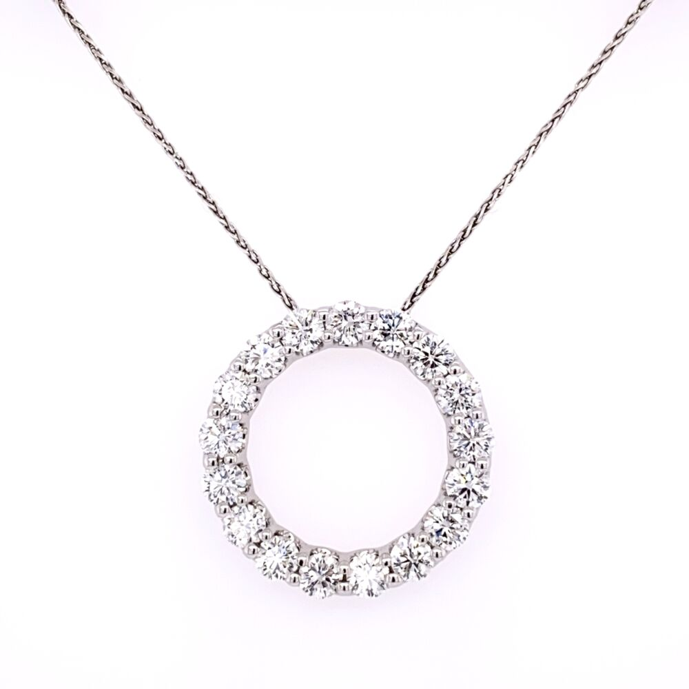 "14K White Gold 17 Diamond Open Circle Necklace 3.40tcw on 18"" Chain"