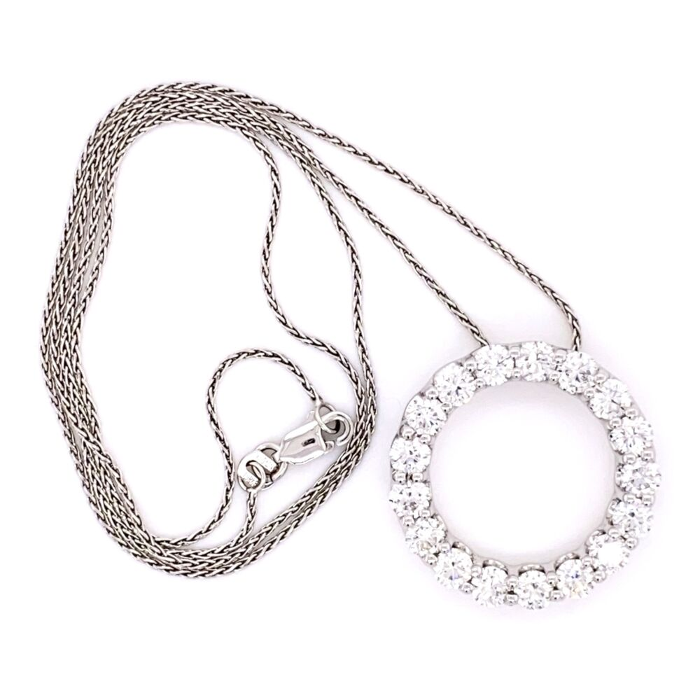 "Image 2 for 14K White Gold 17 Diamond Open Circle Necklace 3.40tcw on 18"" Chain"