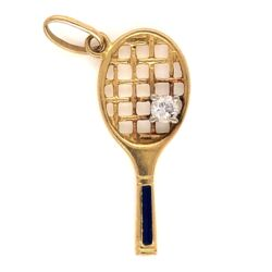 "Closeup photo of 18K Yellow Gold Tennis Racket Charm .12ct Round Diamond, Blue Enamel 1.6g, 1"" tall"