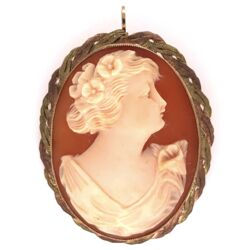 "Closeup photo of 10K Rose Green Gold Weave Shell Cameo Brooch Pendant 1.5"" tall 7.4g"