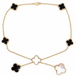 """Closeup photo of 18K Yellow Gold Alhambra Lariat Necklace Mother of Pearl & Onyx 23.5g, 16"""""""