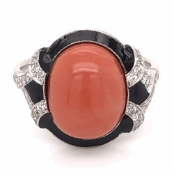 Closeup photo of Platinum Art Deco 5.81ct Oval Cabochon Coral, Black Enamel & .32tcw Diamond Ring 6.5g, s6.75