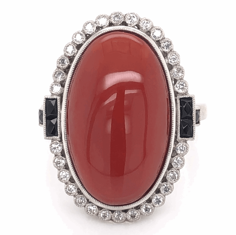Platinum Art Deco 15.81ct Oval Deep Red Coral, Onyx & .35tcw Old Cut Diamond Ring 14.9g, s7.25