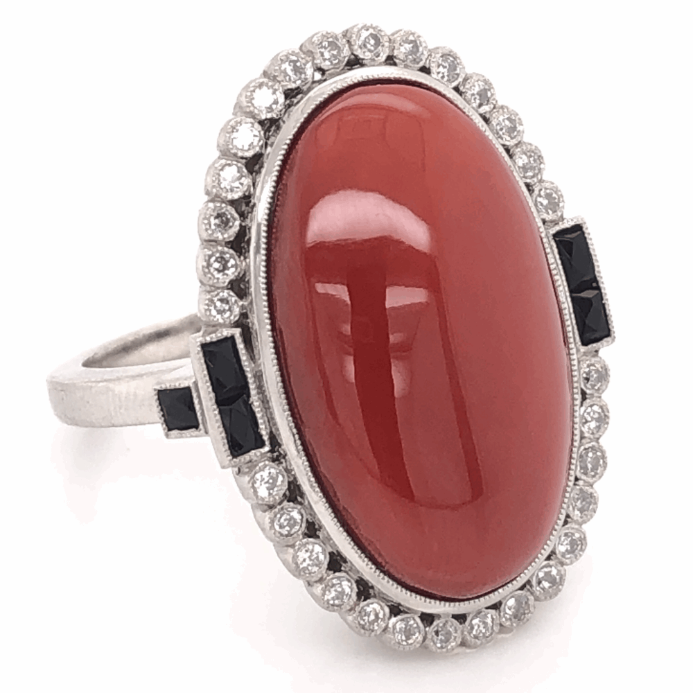 Image 2 for Platinum Art Deco 15.81ct Oval Deep Red Coral, Onyx & .35tcw Old Cut Diamond Ring 14.9g, s7.25
