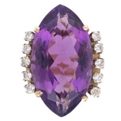 Closeup photo of 14K Yellow Gold 12ct Marquis Amethyst & .50tcw Diamond Ring c1970 10.5g, s5.25