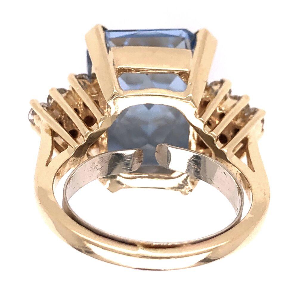 Image 2 for 18K Yellow Gold 7.5ct Rectangular Blue Topaz & .70tcw Diamond Ring 9.9g, s6
