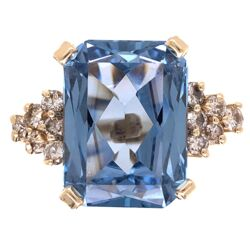 Closeup photo of 18K Yellow Gold 7.5ct Rectangular Blue Topaz & .70tcw Diamond Ring 9.9g, s6