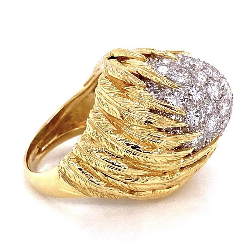 18K Yellow Gold Feathered Dome Bombay Ring 3.50tcw Collection Diamonds 20.3g, s5