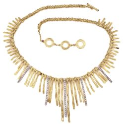 "Closeup photo of 18K Yellow Gold ROBERTO COIN Elephant Skin Stick Necklace .75tcw Diamonds 59.6g, 18"" long"