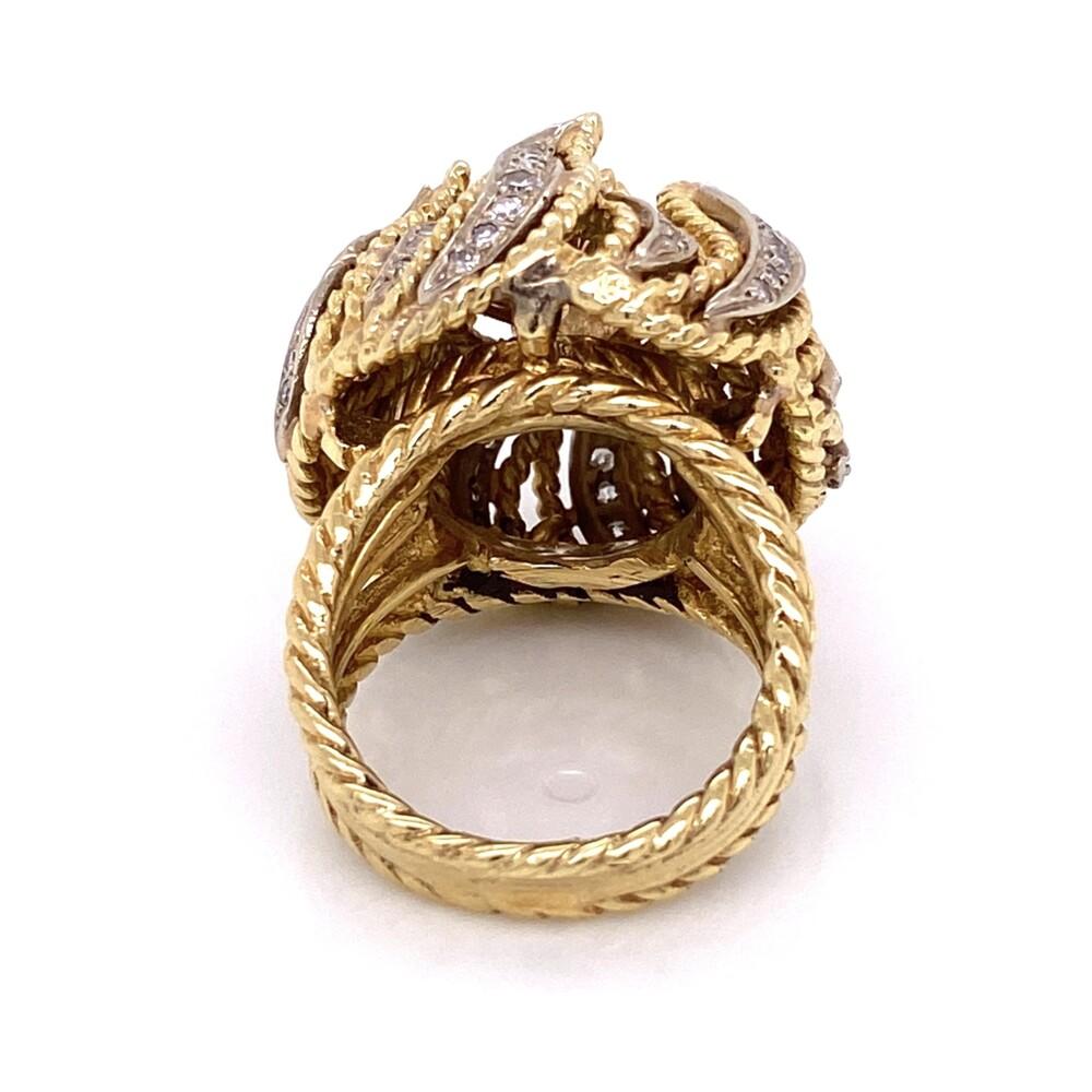 14K Yellow Gold 1960's Bombay Petal Ring .55ct Round Brilliant Diamond and .62tcw side diamonds 21.5g, s6