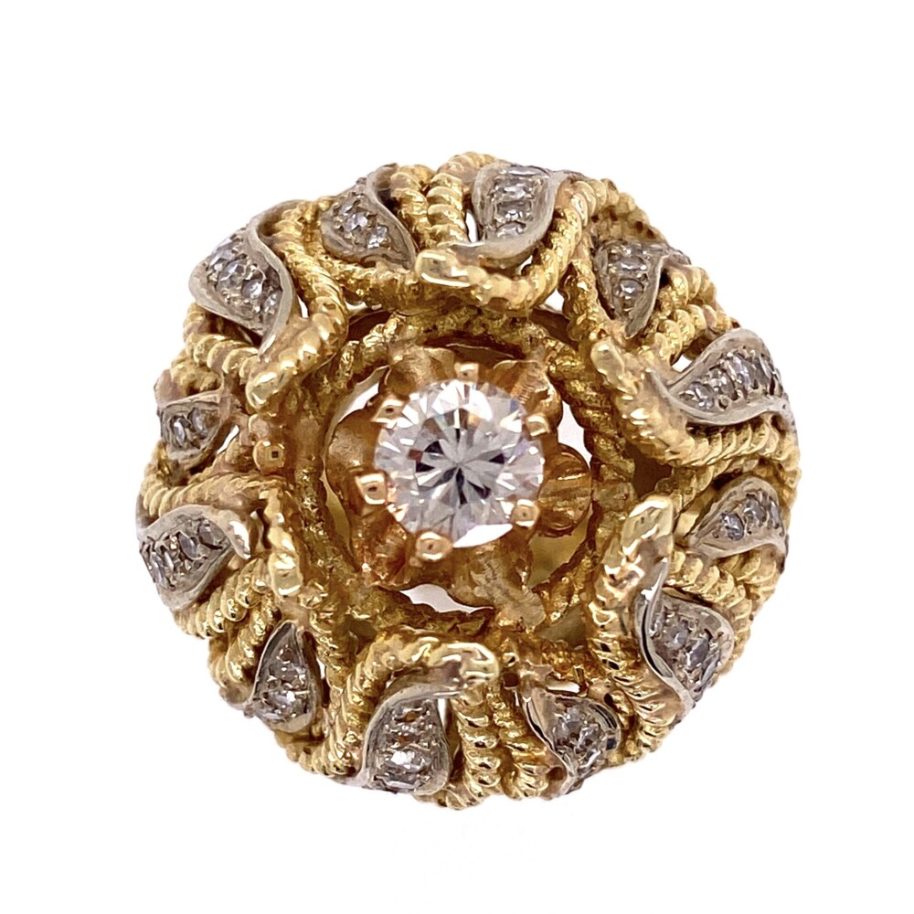 Image 2 for 14K Yellow Gold 1960's Bombay Petal Ring .55ct Round Brilliant Diamond and .62tcw side diamonds 21.5g, s6