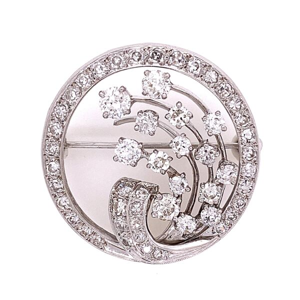 "Closeup photo of Platinum 1940's Circle Diamond Brooch 1.25"" Diameter 2.84tcw, 8.5g"