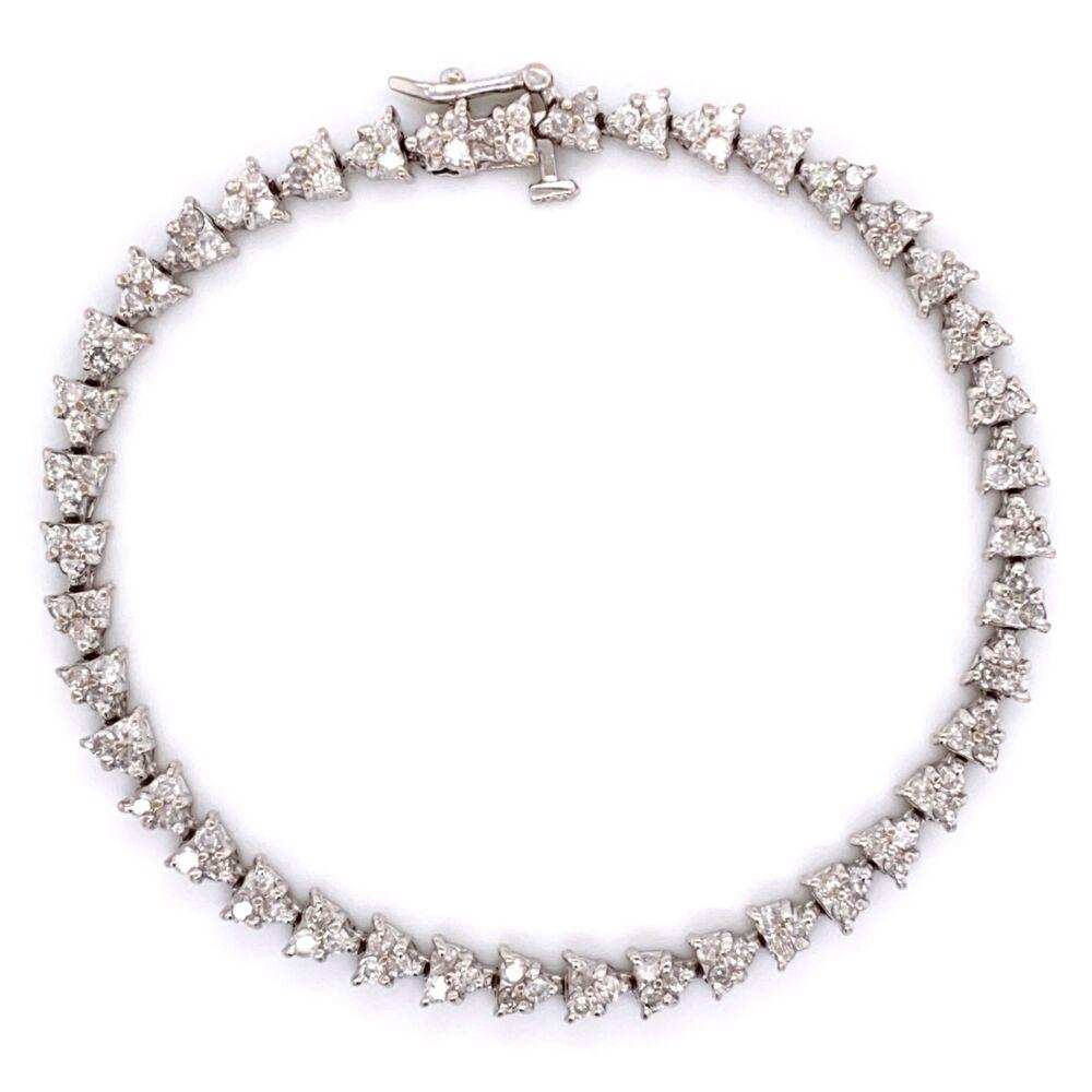 "14K White Gold Mosaic Line Bracelet 126 Diamond 3.5tcw 13.4g, 7"""