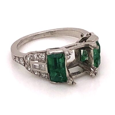Closeup photo of Platinum Art Deco Diamond Semimount with Filigree .30tcw Diamonds and 1tcw Emeralds 4.3g, s3.5