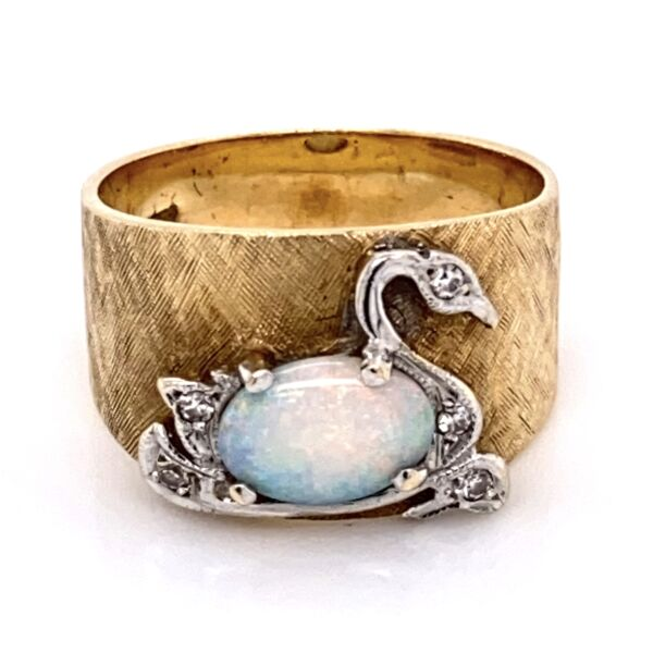 Closeup photo of 14K Yellow & White Gold Swan Ring with .75 Oval Opal & .04tcw Diamonds 5.6g, s6.25