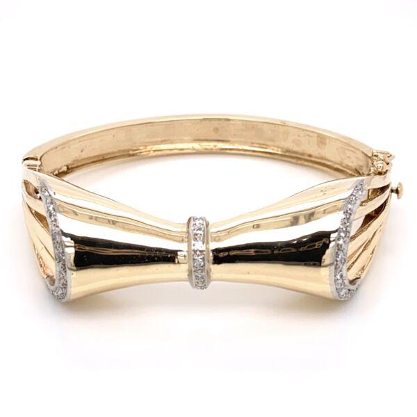Closeup photo of 14K Yellow Gold 1960's Bow Bracelet .45tcw Diamonds 33.9g