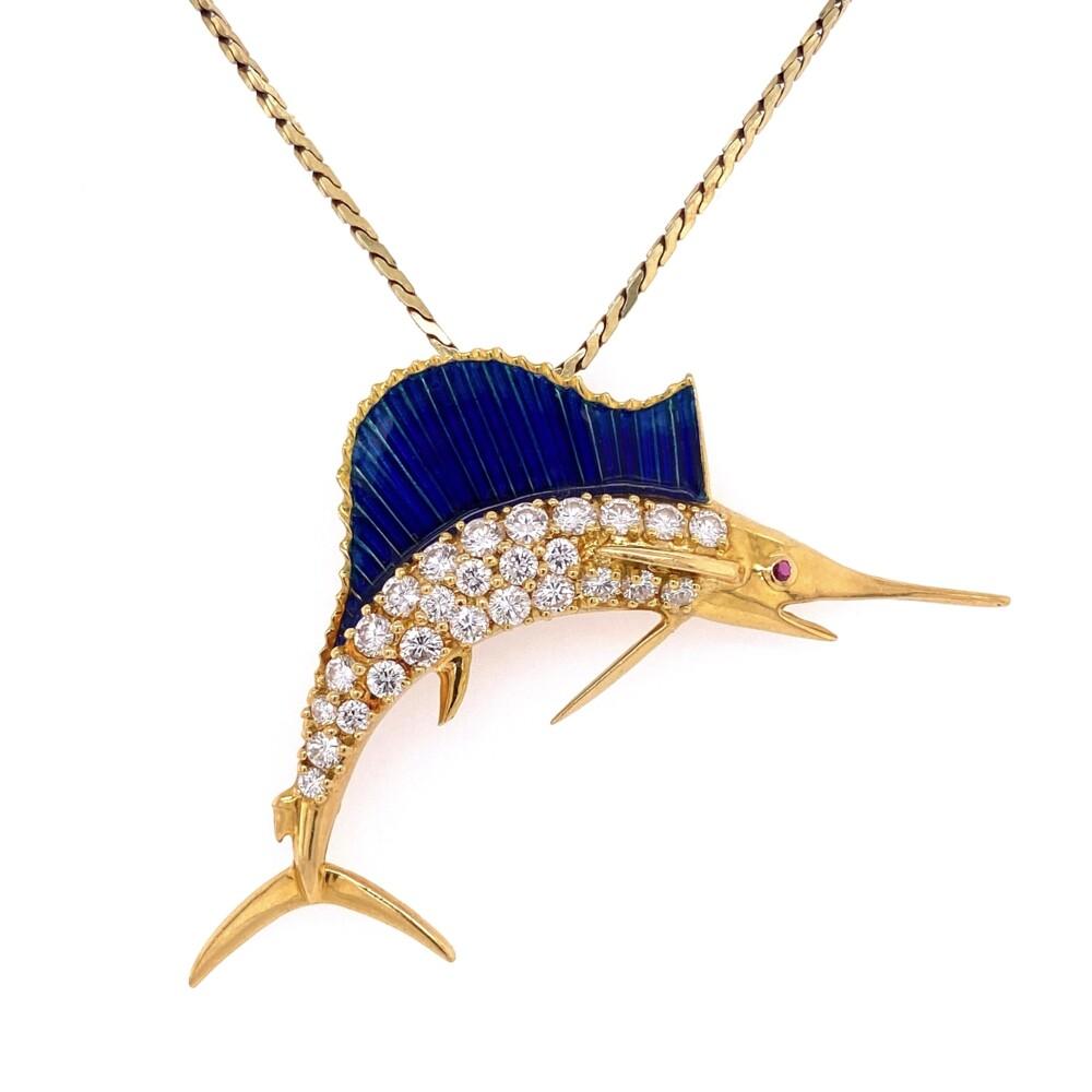 18K & 14K Yellow Gold Diamond Marlin Necklace Pendant with Blue Green Enamel 1.82tcw 18g