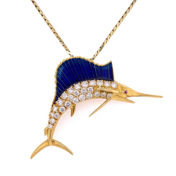 Closeup photo of 18K & 14K Yellow Gold Diamond Marlin Necklace Pendant with Blue Green Enamel 1.82tcw 18g