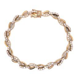 "Closeup photo of 14K Yellow Gold Diamond Swirl Bracelet 100 Diamonds are 3.50tcw 14.0g, 7.25"""