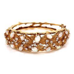 Closeup photo of 18K Yellow Gold 1960's Cuff Bracelet 3.00tcw White Opal & 1.60tcw Diamonds 45.8g