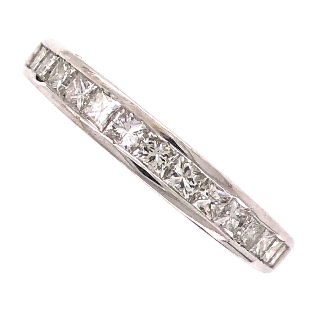 14K White Gold Channel Set Princess Cut Diamond Band Ring .77tcw, 2.9g, s7.5
