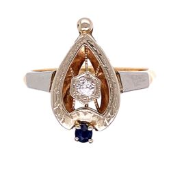 Closeup photo of 14K White & Yellow Gold Art Deco Spade .08ct Old European Cut Diamond and .05ct Sapphire Ring 3.2g, s7.25