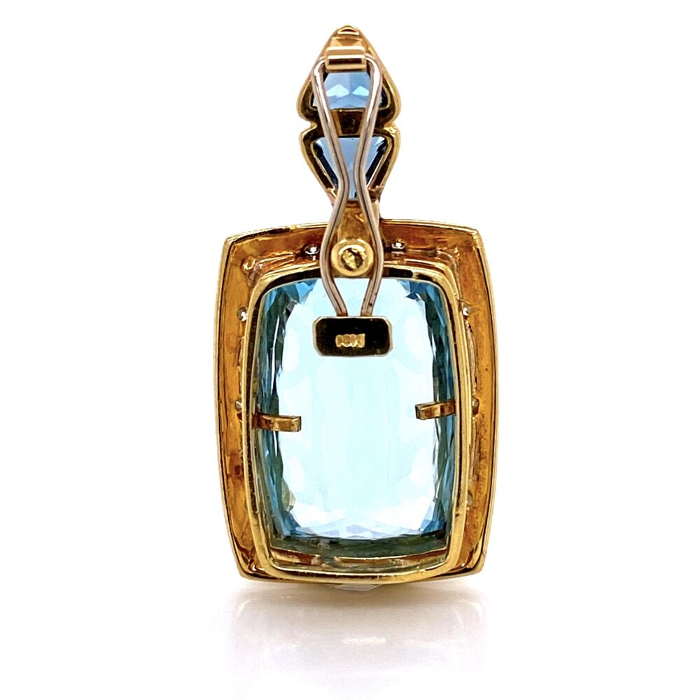 "18K Yellow Gold 20ct Blue Topaz Custom Pendant Enhancer .70tcw Diamonds 24.0g, 1.75"" tall"