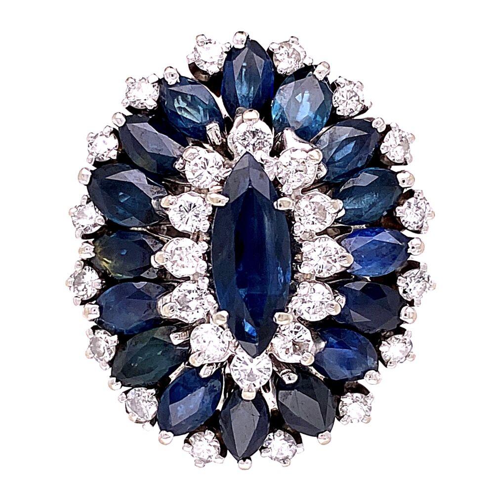 14K White Gold Cocktail Marquis Sapphire & Diamond Ring 1.60tcw Diamonds, 4.20tcw Sapphires 14.2g, s4.75