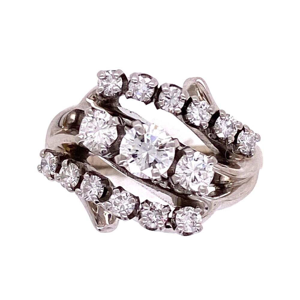 Platinum 1950's 3 stone Cluster Round Brilliant Diamond Ring .85tcw 5.2g, s3.5