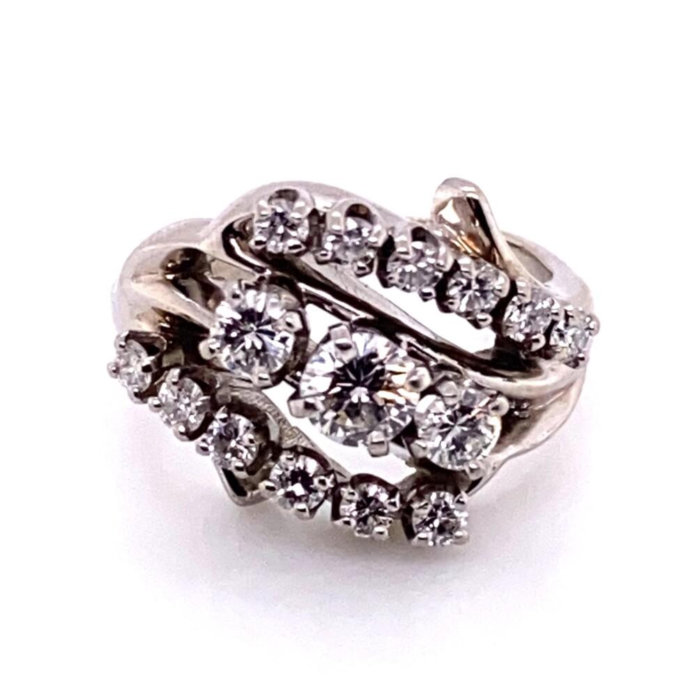 Image 2 for Platinum 1950's 3 stone Cluster Round Brilliant Diamond Ring .85tcw 5.2g, s3.5