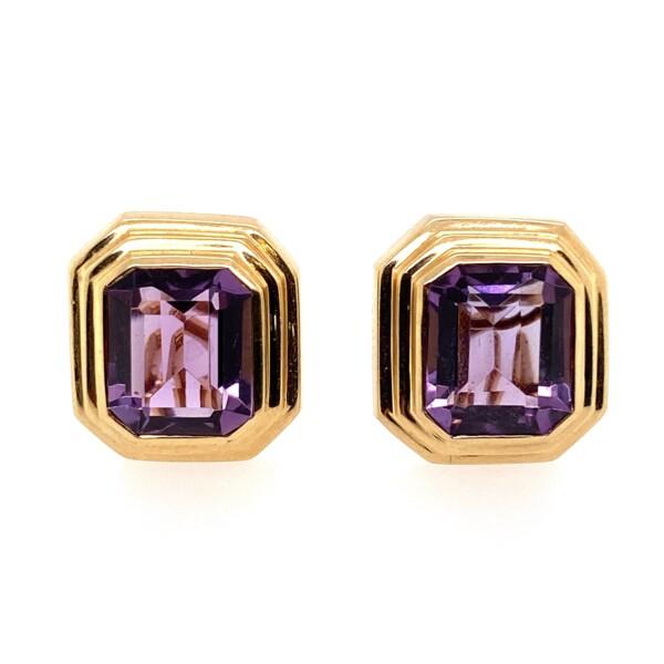 Closeup photo of 14K YG Emerald Cut Amethyst Bezel Set French Clip Earrings 12.3g