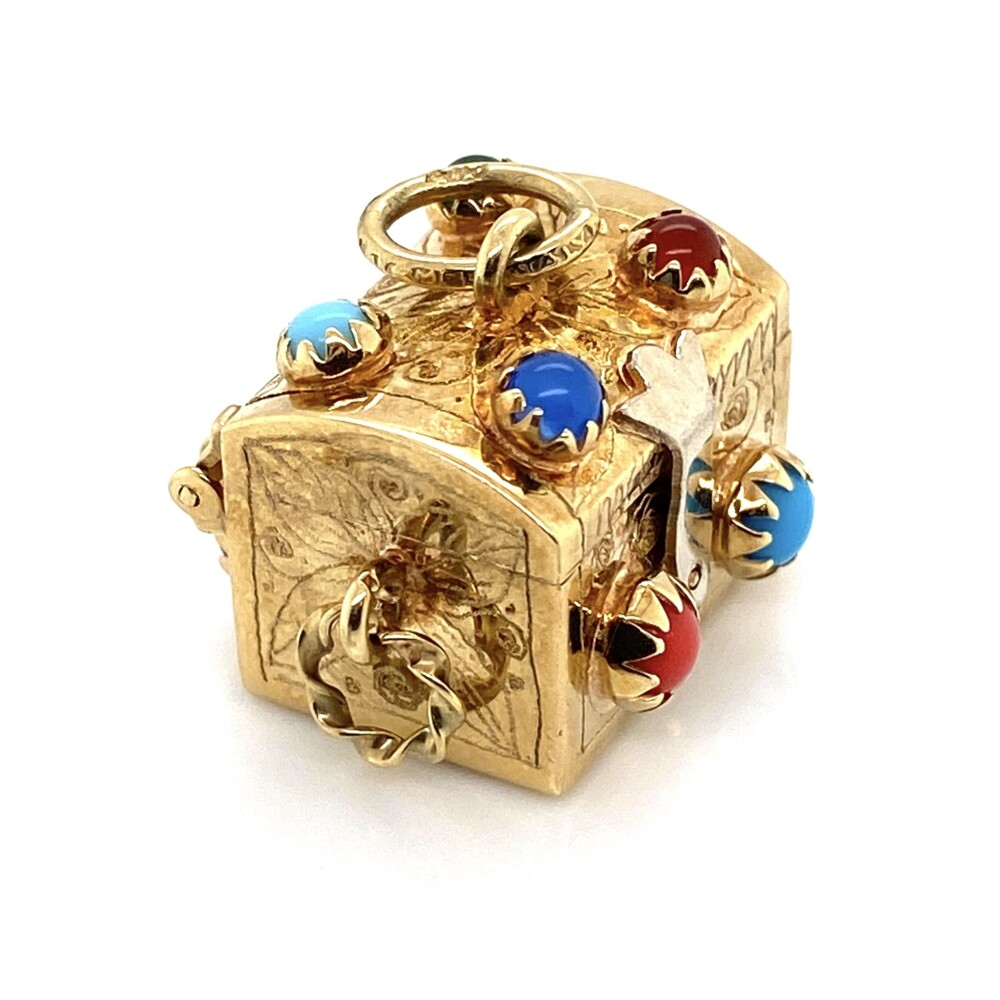 Image 2 for 14K Yellow Gold Charm Box with Gemstones and opening Lid 6.3g