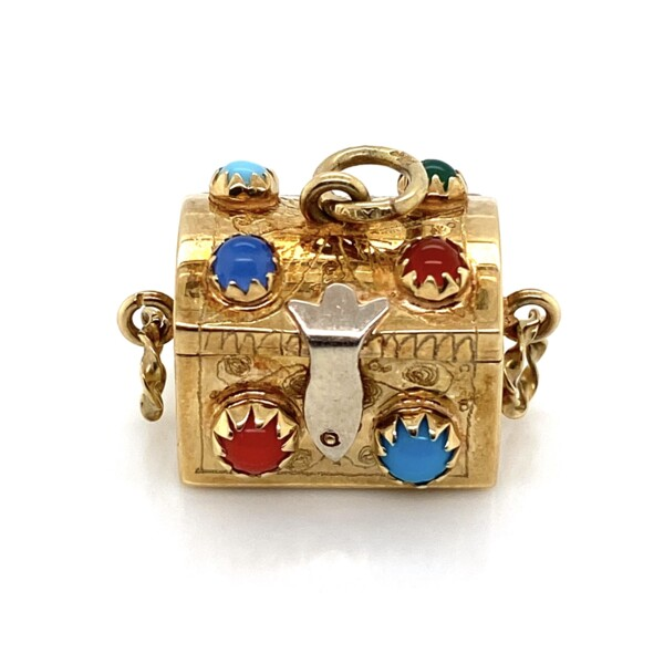 Closeup photo of 14K Yellow Gold Charm Box with Gemstones and opening Lid 6.3g