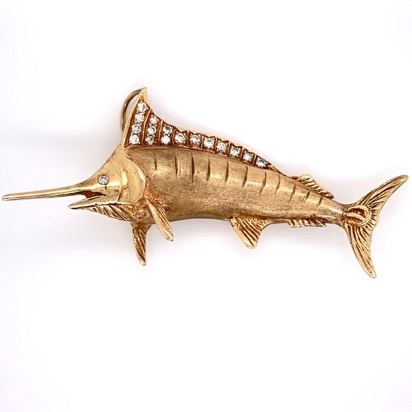 "Closeup photo of 18K Yellow Gold Marlin .35tcw Diamonds Pendant 14.9g, 2.5"" long"