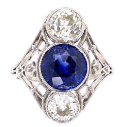 Closeup photo of Platinum Art Deco 2.53ct Round Sapphire & 2 Diamonds are 1.45tcw Navette Shaped Ring with Filigree, s6.5