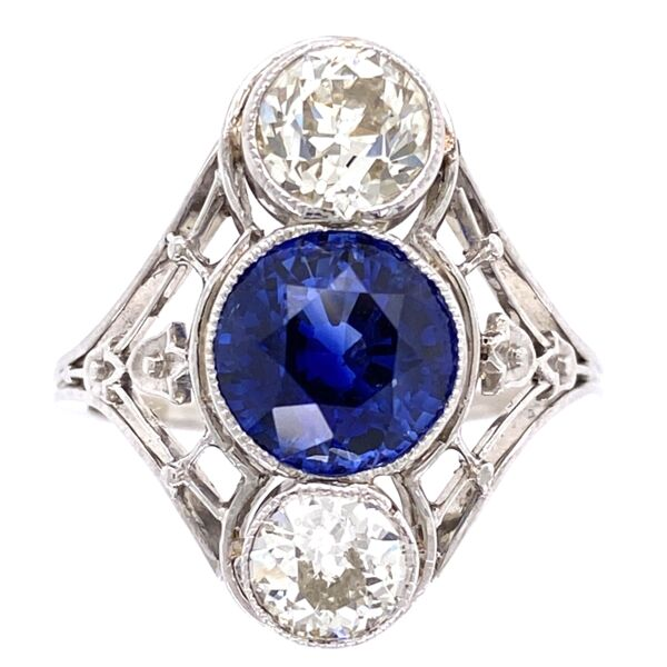 Closeup photo of Platinum Art Deco 2.53ct Round Sapphire & 2 Diamonds are 1.45tcw Navette Shaped Ring with Filigree, s6.5
