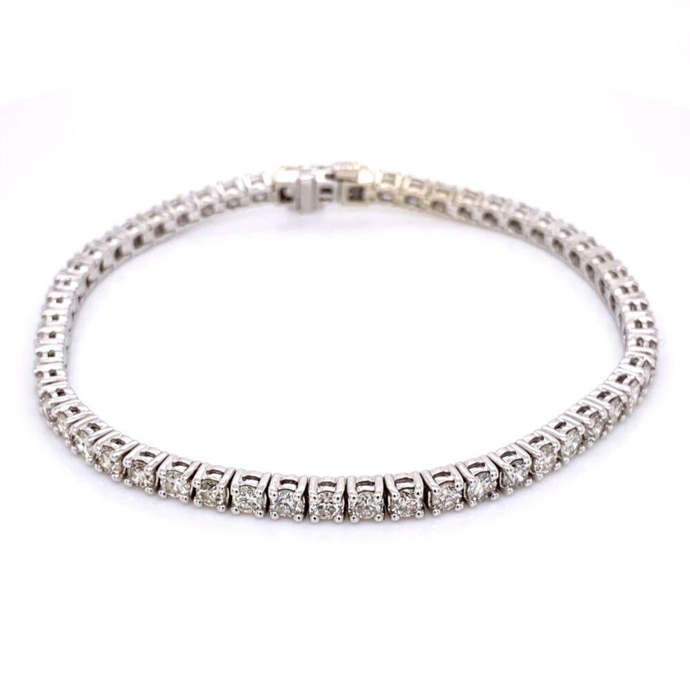 "14K White Gold Straight Line Diamond Tennis Bracelet 5.12tcw 7"""