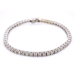 "Closeup photo of 14K White Gold Straight Line Diamond Tennis Bracelet 5.12tcw 7"""