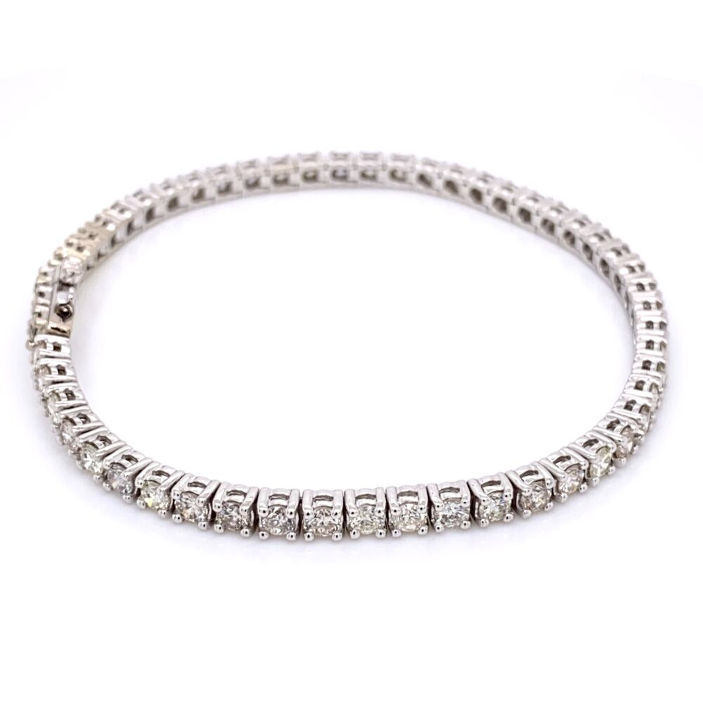 Image 2 for 14K White Gold Straight Line Diamond Tennis Bracelet 5.12tcw 7""