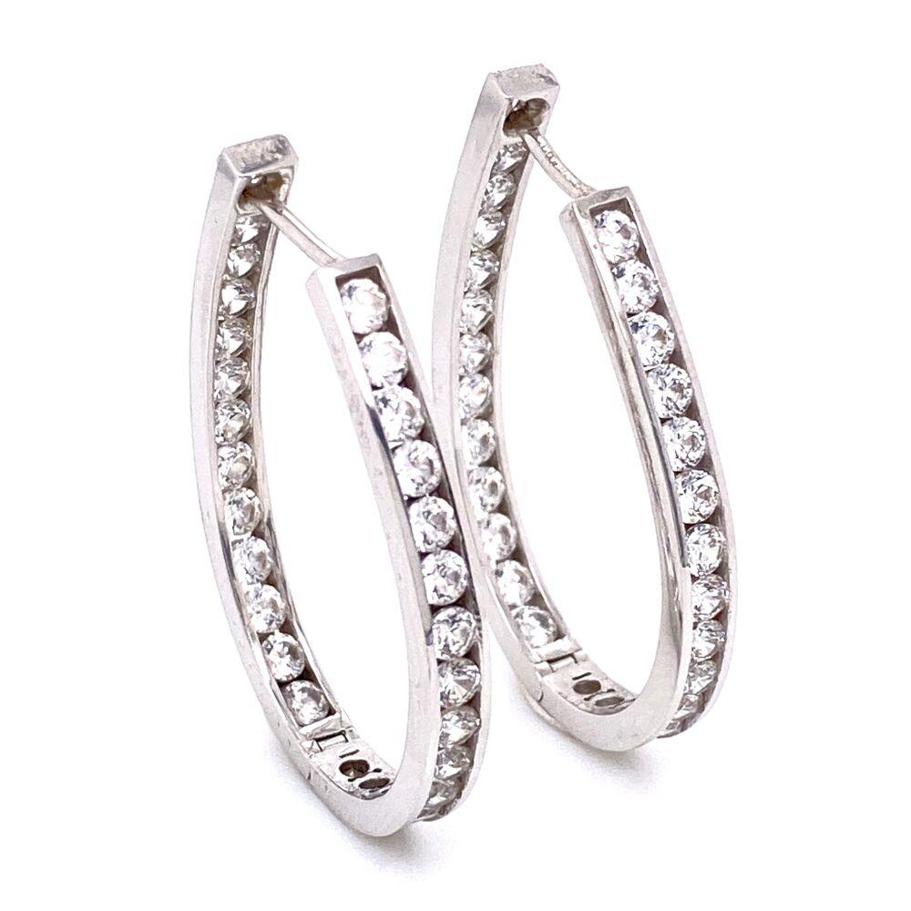 """Image 2 for 14K White Gold Oval CZ Hoop Earrings 8.2g, 1 3/8"""" tall"""