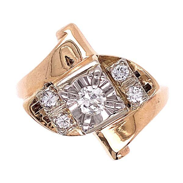 Closeup photo of 14K & 10K Yellow Gold 1970's Ring .35tcw Diamonds 5.5g, s6.25
