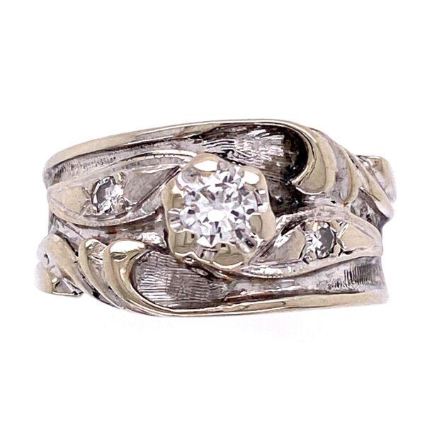 Closeup photo of 14K White Gold Art Nouveau .35tcw Diamond Band Ring 5.9g, s5.75