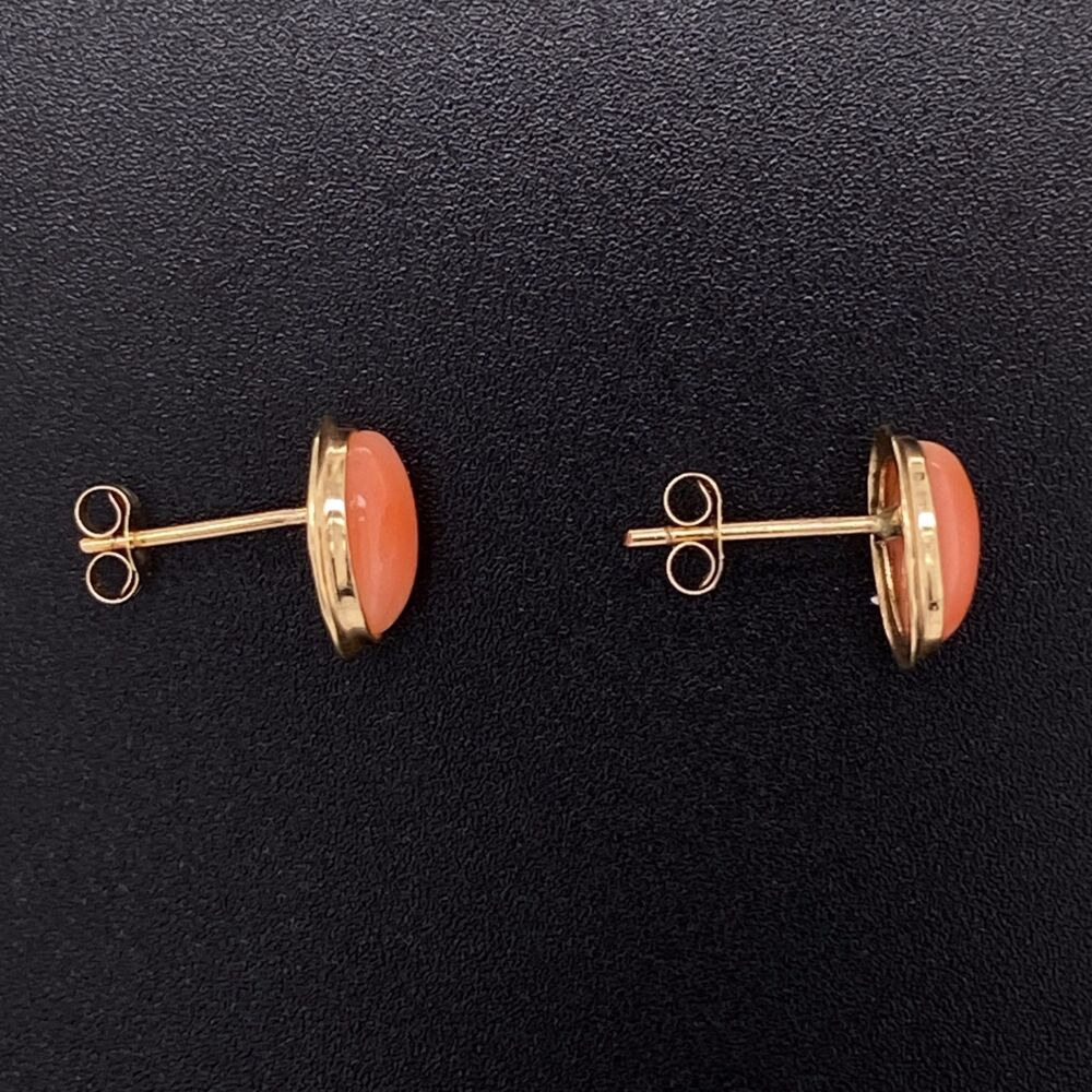 """Image 2 for 14K Yellow Gold Oval Cabochon Coral Stud Earrings 3/8"""" Tall"""