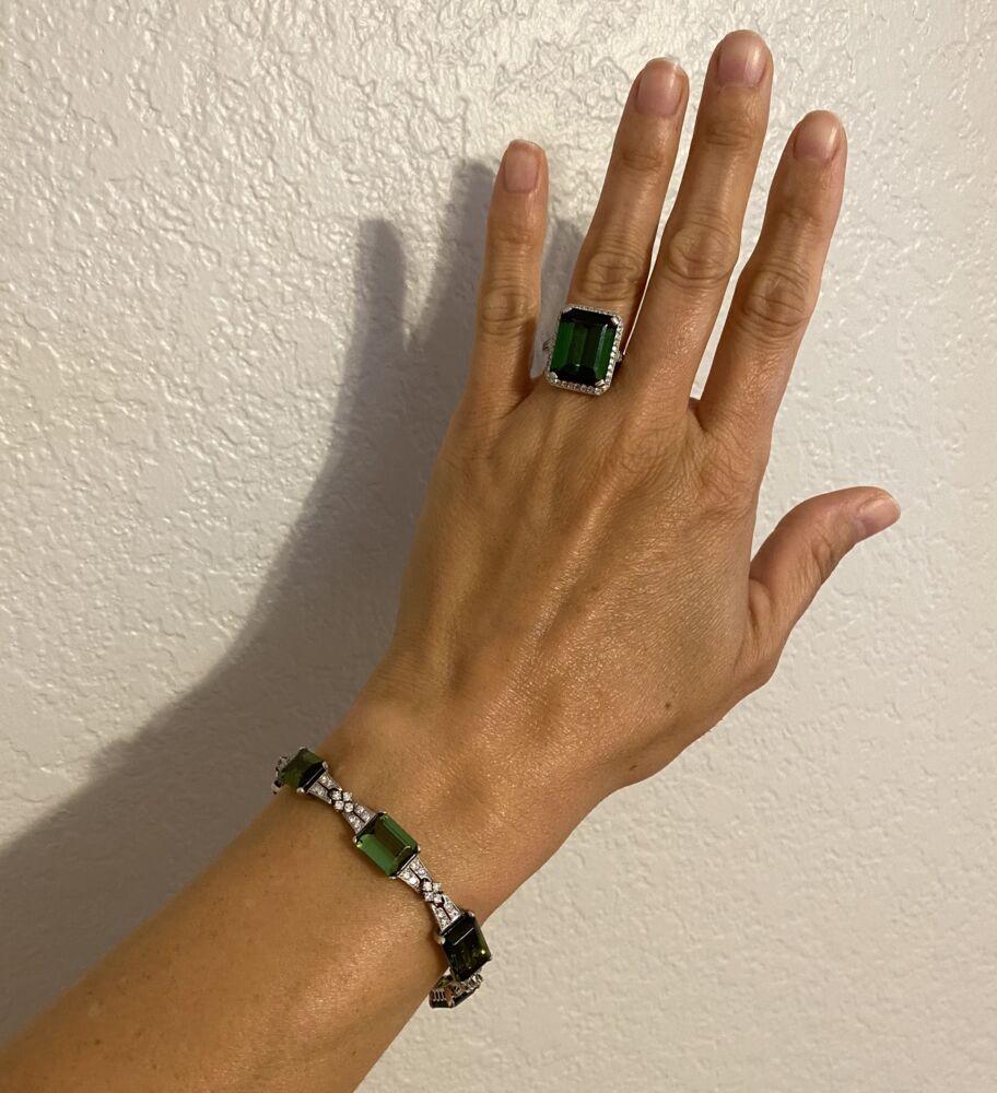 "Platinum Art Deco 62.0tcw Green Tourmaline & 2.40tcw Diamond Bracelet 26.1g, 7"" Long"