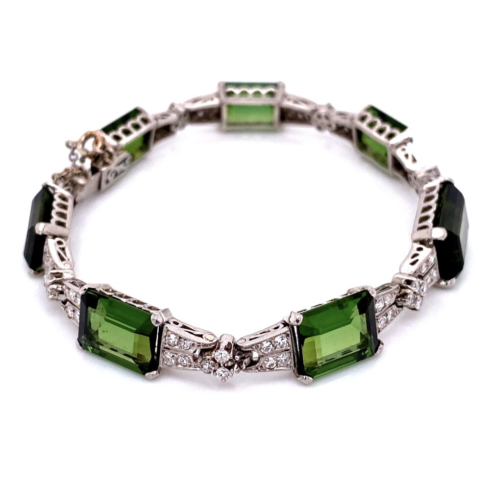 "Image 2 for Platinum Art Deco 62.0tcw Green Tourmaline & 2.40tcw Diamond Bracelet 26.1g, 7"" Long"