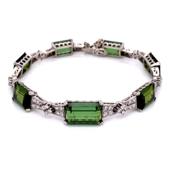 "Closeup photo of Platinum Art Deco 62.0tcw Green Tourmaline & 2.40tcw Diamond Bracelet 26.1g, 7"" Long"