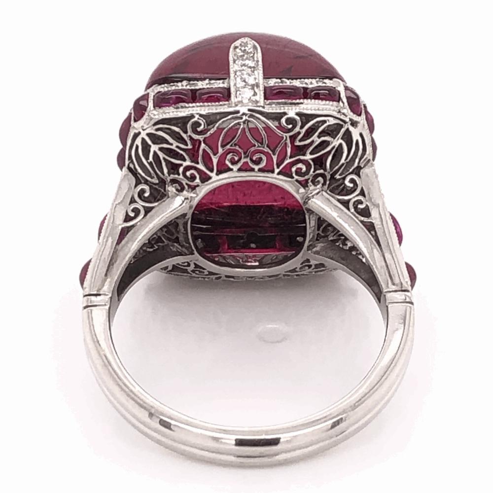Image 2 for Platinum Art Deco 19.17ct Sugarloaf Cut Rubellite Red Tourmaline, 2tcw Rubies, .40tcw Diamond Ring 13.2g, s6.5