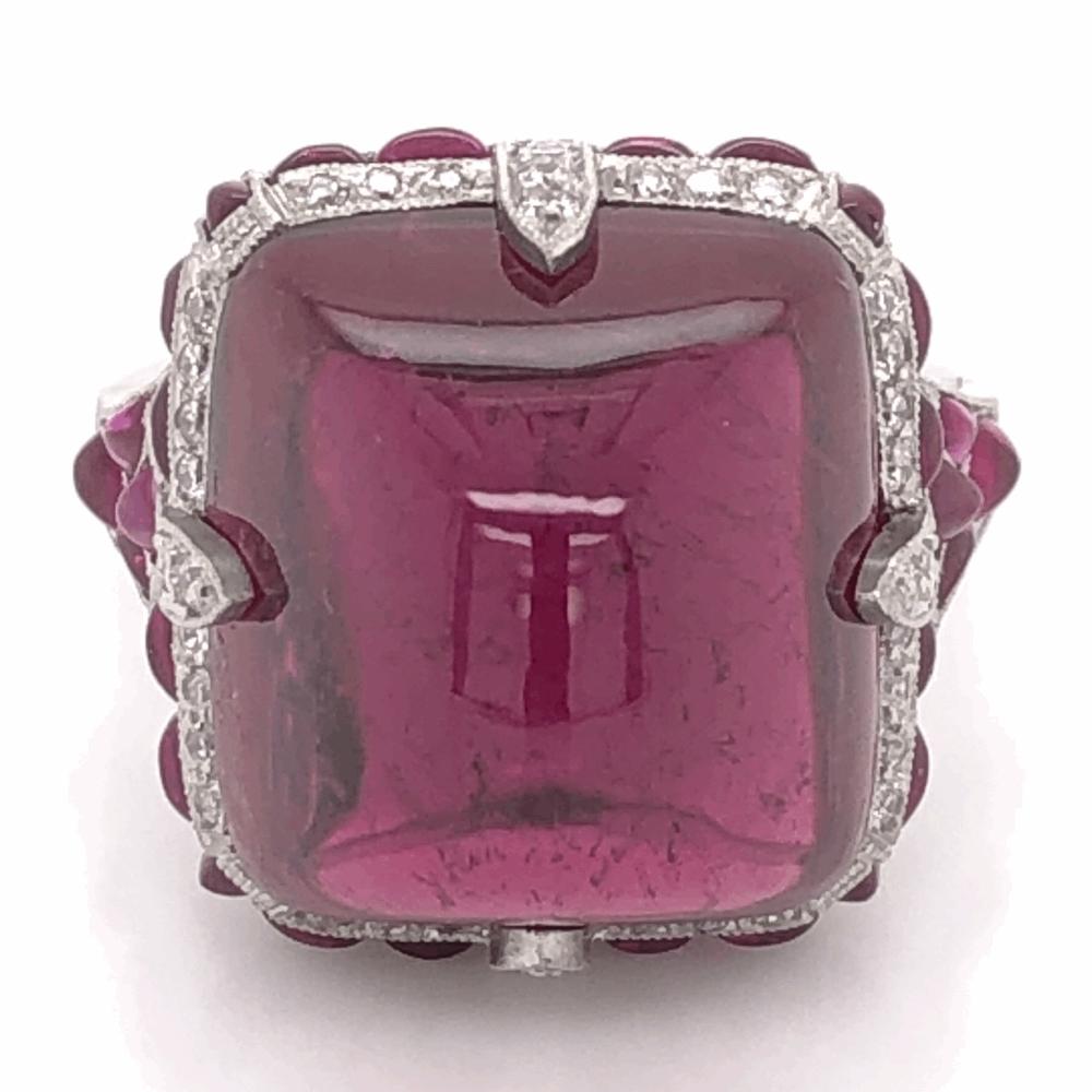 Platinum Art Deco 19.17ct Sugarloaf Cut Rubellite Red Tourmaline, 2tcw Rubies, .40tcw Diamond Ring 13.2g, s6.5