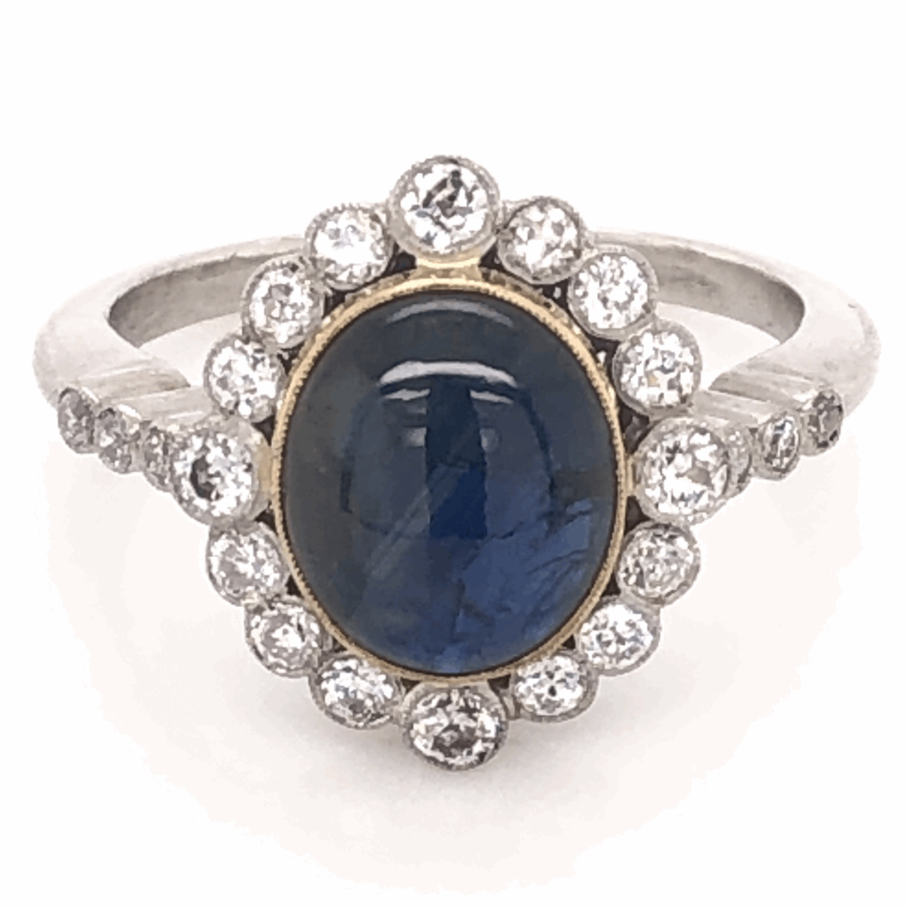 Platinum Art Deco 3.59ct Deep Blue Star Sapphire & .60tcw Diamond Ring 6.4g, s7